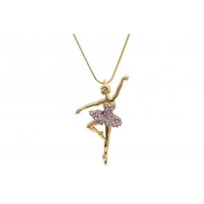 Colar de Bailarina de resina com strass lilás (Cód. BCOD00046)