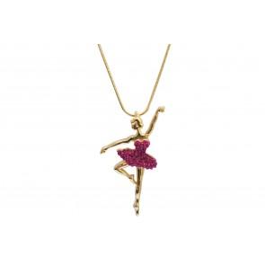 Colar de Bailarina de resina com strass pink (Cód. BCOD00047)