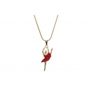 Colar de Bailarina de resina com strass vermelho (Cód. BCOD00050)