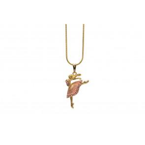 Colar de Bailarina saia com resina rosa (Cód. BCOD00053)