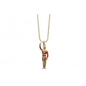 Colar de Bailarino com resina vermelho (Cód. BCOD00059)